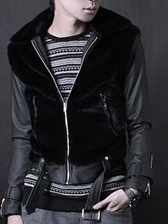 Low Price Men Fur Turndown Collar Long Sleeve Patchwork Leather Jacket