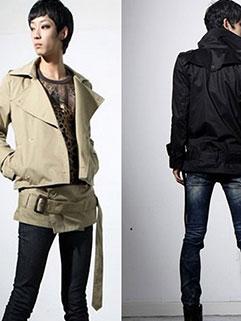 High Quality Men Long Sleeve Turndown Collar Slim Solid Warm Individual Coats