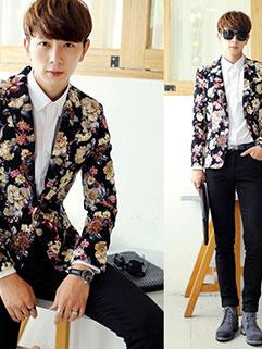 Wholesale Fresh Style Men Long Sleeve Turndown Collar Floral Print Fashion Coats