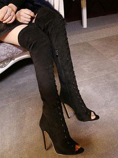 High-end Black Peep-toe Zipper Chic Bandage Super High Heel Suede Thigh Boot