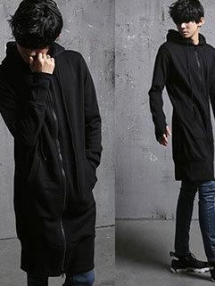 Simple Design Men Hooded Collar Long Sleeve Zipper Up Solid Long Black Coats