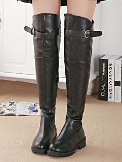 Online Classic Design Black Round-toe Zipper PU Women Thigh Boot