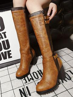 Korean Style Individual Color Block Zipper PU Chunky Heel Women Thigh Boot