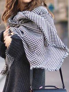 New Arrival Women Houndstooth Fringe Elegant Winter Scarves