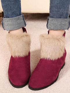 Stylish Fur Split Round-toe Women Zipper Hidden Heel Ankle Boot