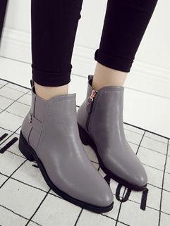 British Style Round-toe Classic Design Zipper Women Boots