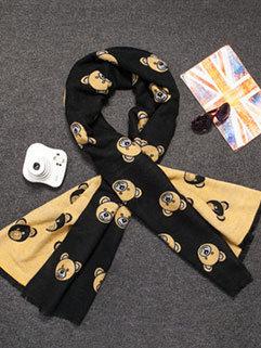 Korean Style Unisex Color Block Bear Print Thicken Warm Fashion Scarf