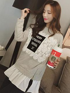 Korean Individual Women Long Sleeve Split Crochet Solid Hoodies