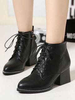 Wholesale Online Black Pointed-toe Zipper Women Boot