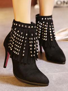 Gorgeous Brand Fringed Rivets Decor Women Zipper Boot