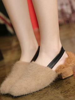 Hot Selling High Quality Round-toe Fur Women Flats