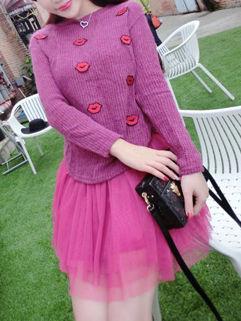 Korean Style Women Solid Long Sleeve Lip Print Two Piece Dress