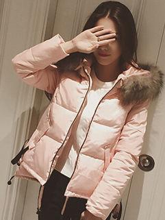 High Quality Fur Collar Long Sleeve Zip Solid Coat