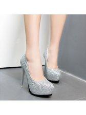 Wholesale High Thin Heel Round Toe Fashion Pumps