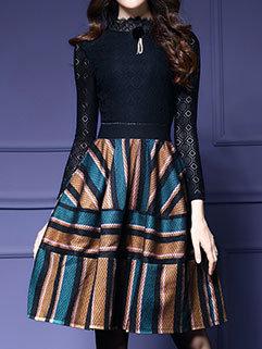 Hot Selling Laciness Knee-length Long Sleeve Dress