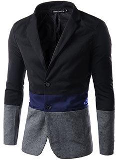 New Arrival Men Color Block Long Sleeve Coat