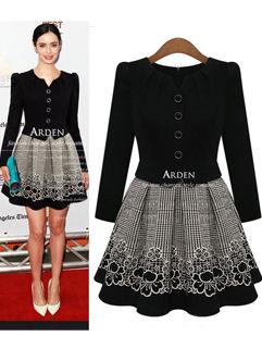 Ladylike High Quality Oversize Black Long Sleeve Dress