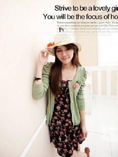 Korea Fashion Lovely Ladies Long Puff Sleeve Pure Color Coat