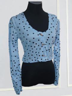 Women Fashion V-neck Dotted Short Coat