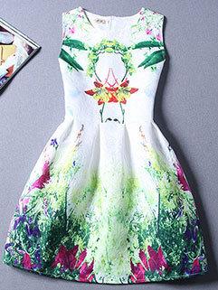 Japanese Style Women Printed Fashion Dress