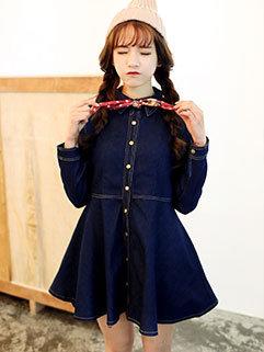 Classic Design Blue Long Sleeve Women Denim Dress