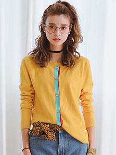 Simple Design Single-breasted Cardigan Sweater