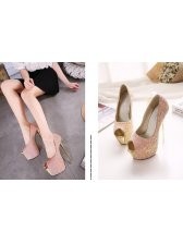 Latest Design Women Super High Peep Toe Sequined Pumps