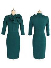 Ladylike Solid Bodycon Bow Decor Zip Dress