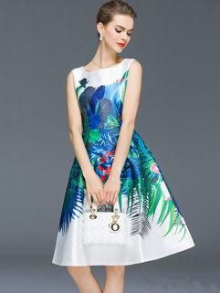 Euro American Printing Sleeveless Zip Dress