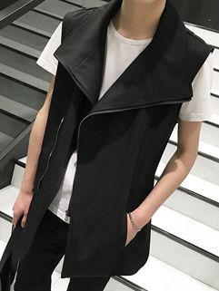 New Collection Sleeveless Black Zip Waistcoat