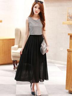 Classic Design Striped Chiffon Split Maxi Dress