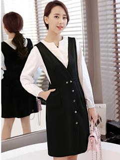 Korean Design V Neck Top With Tank Dresses