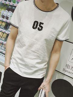 Simple Design Men O-neck Short Sleeve Tee