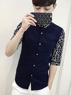 HK Style Men Half Sleeve Ethnic Shirt