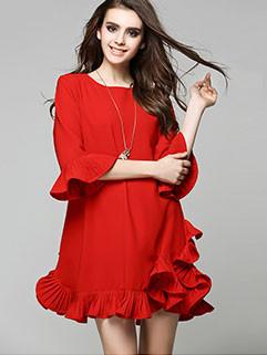 Fashionable Women Petal Sleeve Red Dresses