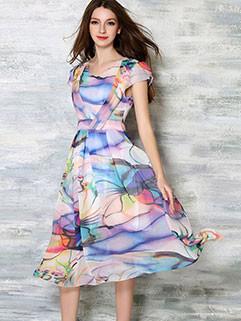 Ladylike Women Color Block Short Sleeve Dresses