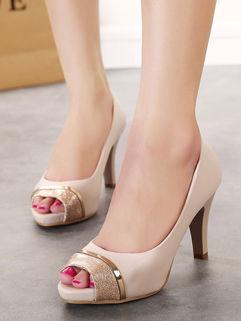 Outlet Fashion Pee-Toe Chunky Heel Sandal