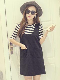 Korean Summer Striped Tee Pocket Twinset Dresses