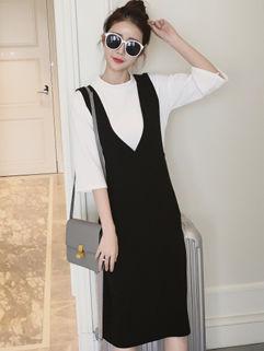 Korean Fashion Solid T-Shirt Strap Twinset Dresses