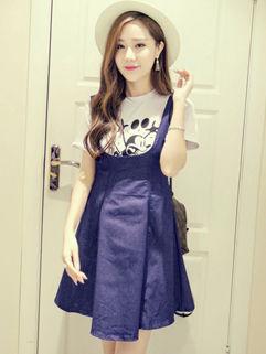 Korean Cute T-Shirt Solid Strap Zipper Dress