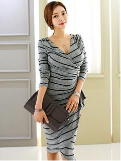 Korean Fashion Striped Office Lady Dresses
