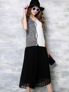 Online Cheap Knit Tank Black Pleated Twinset Dress
