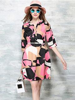 Euro Fashion Individual Printing V Neck Street Dress