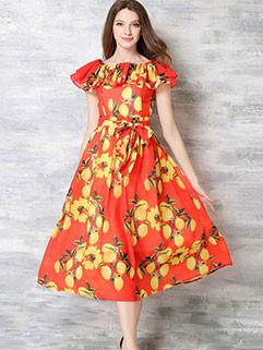 Wholesale Summer Fashion Printing Floral Off  Shoulder Dress