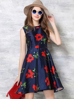 Korean Style Women Floral Sleeveless Bodycon Dress