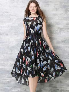 High-end Sleeveless High-low Hem Chiffon Dress