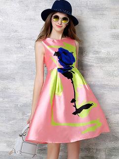 Online Cheap Floral Knee-length Sleeveless Dress