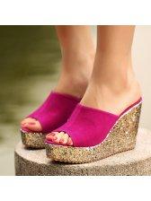 Simple Design Peep-Toe Wedge Slipper