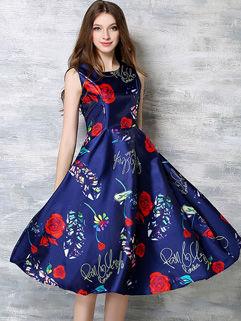 Euro Vintage Printing Floral Sleeveless Zipper Dress