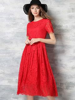 Euro Hot Sale Lace Hollow Out Lack-up Long Dress